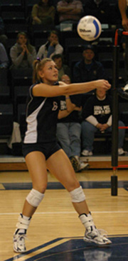 Sophmore+outside+hitter+Bobi+Riley+passes+the+ball+during+the+Lady+Blues+match+against+Northwest+Missouri.%0A