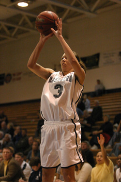 Senior guard Cindy Keeley releases a three-pointer in record setting game.