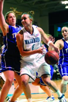 Amanda+Holmes%2C+junior+forward%2C+drives+the+ball+past+the+Truman+State+defense.+Holmes+added+11+points+in+the+Lady+Blues%27+94-63+victory+over+Truman+Saturday.%0A