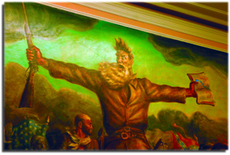 John Steuart Curry's famous painting of controversial abolitionist John Brown. Original murals within the dome actually contained nude Grecian women which were, in 1902, considered too obscene to be kept on the walls.