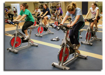 Spinning+into+shape+Washburn+students+participate+in+a+spinning+class+offered+by+the+SRWC.+Spinning+is+one+of+11+group+exercise+classes+available+this+semester.%0A