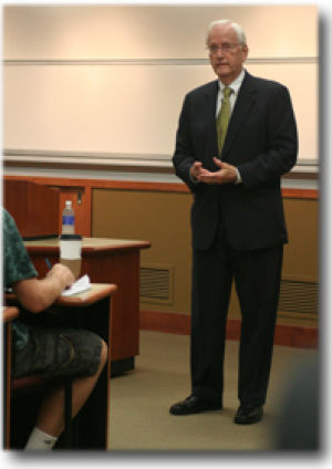 Former FBI director spoke at session with eager students, professors