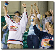 Beep beep! Fans cheer during Saturday night's shootout win at Landon Arena. More than 1,000 fans were in attendance.