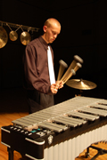 Senior+citizen+Senior+percussionist+Von+Hansen+throws+down+the+fury+in+preparation+for+his+senior+spotlight+Dec.+1+at+White+Concert+Hall.%0A