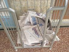 Newspapers in Stoffer Science Hall were found Tuesday morning to be ripped in half and left in their bins.