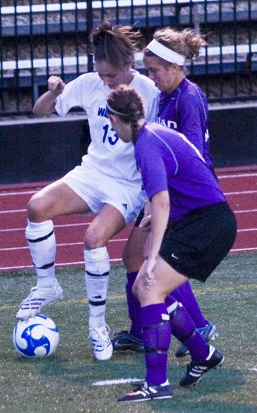 Senior Jessica Mainz works her way out of a jam as Washburn defeated Missouri Western 4-0. Mainz scored twice against the Griffons.