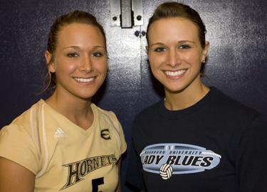 Arica+Shepard%2C+left%2C+and+Ashley+Shepard+are+identical+twin+sisters+and+play+volleyball+for+rivals+Emporia+State+and+Washburn.%0A