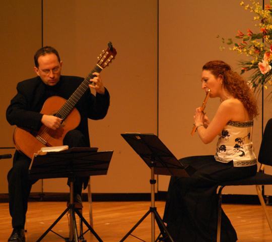 Dynamic duo Denis Azabagic and Eugenia Moliner duet their way into the hearts of audience members Wednesday evening. This husband and wife team was brought to Washburn by the Topeka Community Concert Association.