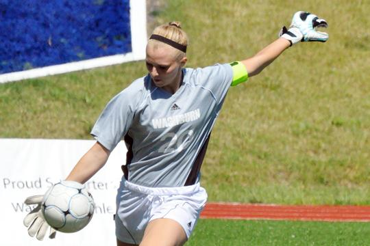 Heads+up%21+Washburn+goalkeeper%2C+Ashley+Klone%2C+kicks+a+ball+during+the+Lady+Blues+game+on+Saturday.+Washburn+tied+1-1+against+the+University+of+Incarnate+Word.+Photo+by+Erik+Boeselager.%0A