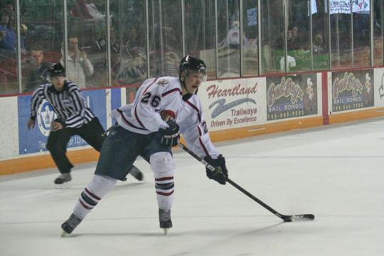Topeka%27s+Brian+Christie+fires+one+of+his+three+shots+on+goal+Friday+night.+Christie+had+an+assist+in+Topeka%27s+dominant+3-1+victory.%0A