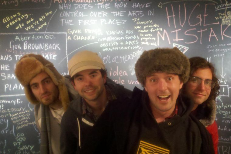 Comedy+group+Dave+McCary%2C+Nick+Rutherford%2C+Beck+Bennett+and+Kyle+Mooney+display+their+onstage+antics.+Good+Neighbor+has+attracted+more+than+15+million+views+on+YouTube.%0A