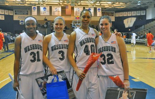 Four Lady Blues were honored on Senior Night 2010 after Saturday night's game Rose Hammond, Brette Ulsaker, Dayna Rodriguez and Amanda Fessenden. The Blues won 80-45 against Pittsburg State.