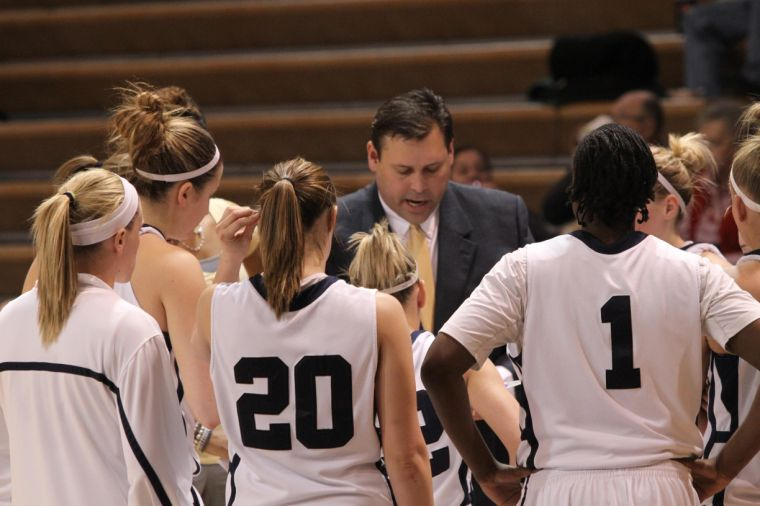 Game plan Lady Blues coach Ron McHenry talks to his team during Saturday night's game against Missouri Western State University. Washburn bounced back and beat the Griffons 95-74 in Lee Arena after losing two straight games on the road. Photo by Mike Goehring, Washburn Review.