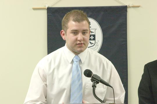 Politically-minded Nic Campell speaks last week at the WSGA debate. Campell hopes his background as a
