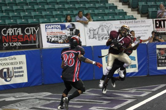 What's the catch Koyotes receiver Mike Williams hauls in a touchdown pass on Saturday night. Williams' reception wound up being the game-winner as the Koyotes defeated the Springfield Wolf Pack 32-26.