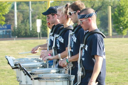 Beat+it+The+drumline+lays+down+a+beat+as+the+Washburn+University+Marching+Blues+practice+their+halftime+show+during+band+camp.+The+camp+went+from+Aug.+16-20.%0A
