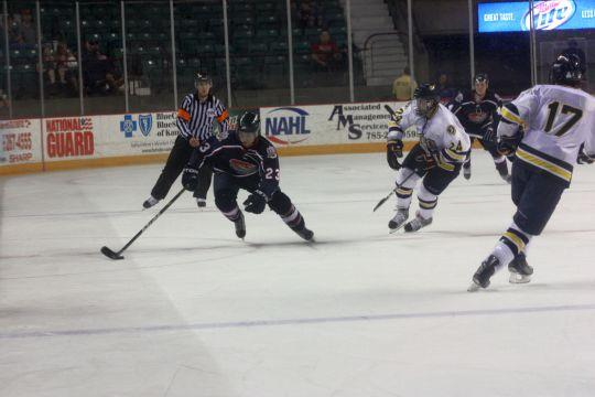 Stick+it+out+Forward+Shigenobu+Kakudate+races+down+the+ice+towards+the+Central+Oklahoma+Broncho+goal+on+Saturday+night.+Kakudate+had+two+assists+in+Topeka%27s+4-0+victory.%0A