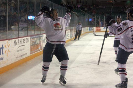 Goal-oriented Forward Andrew O'Leary (17) celebrates after scoring his third goal on Saturday night to complete his hat trick. O'Leary ended the game with five goals, as Topeka won 5-1.