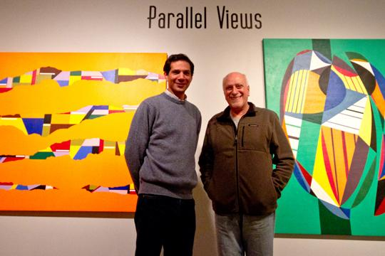 Parallel Views Washburn Professor, Fernando Pezzino (right) with the help of his mentor, Miguel Angel Ginvanetti (left) debuted his artwork.