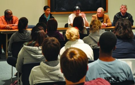 Members of the Lawrence Community Shelter sit down to a panel discussion on Washburn campus on Tuesday, Nov. 13. They shared personal life stories and ways students can help combat homelessness.