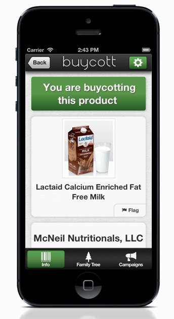 Buycott is a free app. It gives information on companies's products by scanning the bar code of a product.