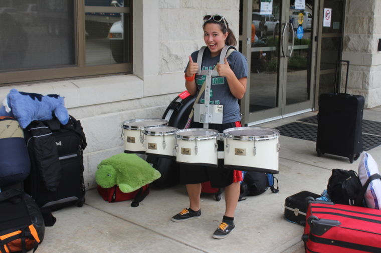 Emily Sarber, drums, representing Kiowa County High School, shows excitement for camp.