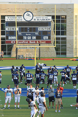 2012 File Photo. The Washburn Ichabods football team prepare for another season on the field.
