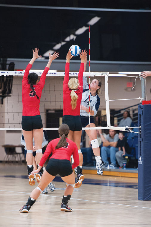 Senior outside hitter Corrinne Stringer spikes the ball in the game against University of Central Missouri on Saturday in Washburn's Lee Arena. The Bods lost 0-3, but Stringer led the team with 13 kills and hit .345 coming off the bench. Washburn will return to the road to play Northwest Missouri State at 7p.m Oct 25.