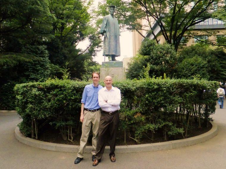 Alex Glashausser and Craig Martin stand in front of the statue of Okuma Shigenobu, founder of Waseda. (Okuma Shigenobu was the 8th and the 17th Prime Minister of Japan.)