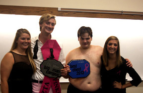 Left to Right: Kelsie Baumgardner, Eli Johns, Bryce Korf and Shelbi Potts pose for a picture following Zeta Tau Alpha's annual Big Man On Campus Event. Johns took home top honors at the event that aimed to raise funds and awareness for breast cancer.
