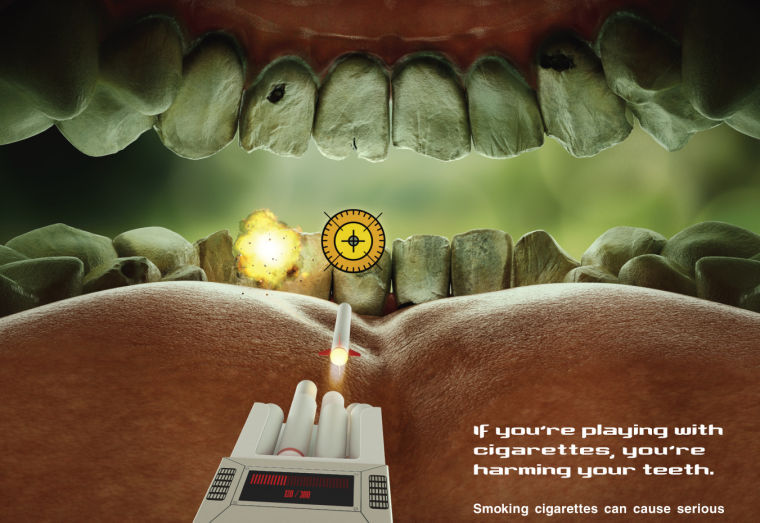 "This undated image provided by the Food and Drug Administration shows the federal agency's new ad campaign featuring yellow teeth to show the costs associated with cigarette smoking. The federal agency said Tuesday, Feb. 4, 2014, it is launching a $115 million multimedia education campaign called ""The Real Cost"" that's aimed at stopping teenagers from smoking and encouraging them to quit. Advertisements will run in more than 200 markets throughout the U.S. for at least one year beginning Feb. 11. (AP Photo/Food and Drug Administration)"