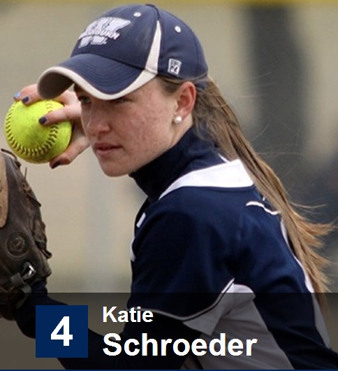 Katie Schroeder has been making big-time plays on the field at second base but the quiet girl from Osage City, Kan., looks forward to dominating in her last go around.