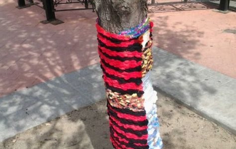 As many as 20 volunteers used their own works of art, including sweaters, hats, potholders, dishcloths, scarves and gloves to create unique designs around trees up and down the street.