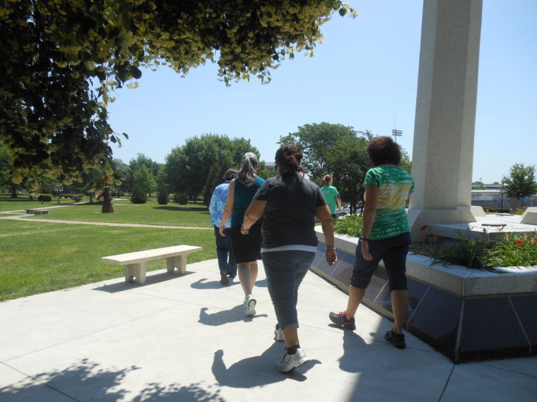 Members of the Movement for Improvement walk around campus during lunchtime. Movement for Improvement is for faculty and staff members of Washburn and Washburn Tech.