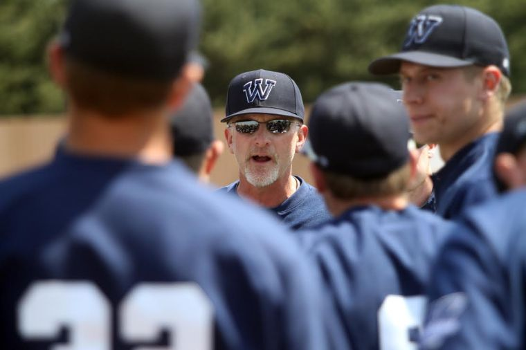 Washburn's Head Baseball Coach Steven Anson talks to players on his team. Anson died in an accident at his residence Sunday, June 22. A memorial event for Coach Anson will take place Monday, June 30 at 4 p.m. at Falley Field.