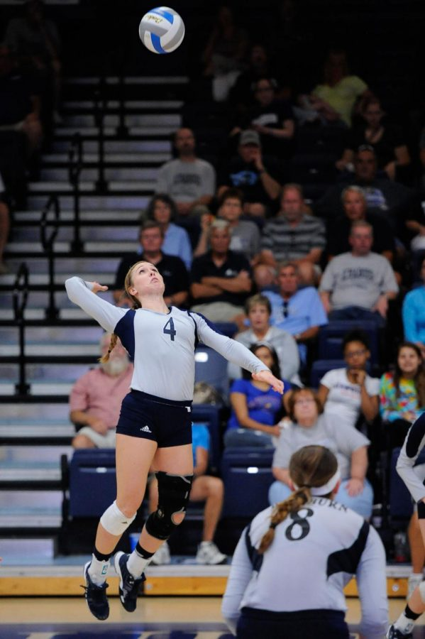 Junior Korie Thompson skies up for a serve Saturday, Sept. 27. The Ichabods swept Central Missouri to improve to 13-1 on the season.