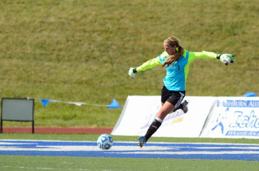 Tori Fuglister delivers the ball back into play against the Jennies. Fuglister had seven saves, but the Ichabods could not outscore Central Missouri.