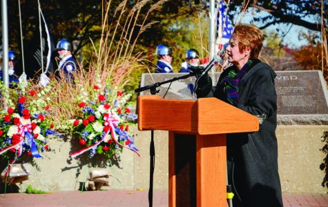 Washburn's Director of Student Services Jeanne Kessler led the 27th annual Veteran's Day Ceremony. The event saw veterans, their families and Washburn students come together to pay respect to those who have served in the armed forces. Washburn and area high school ROTC took part as well.