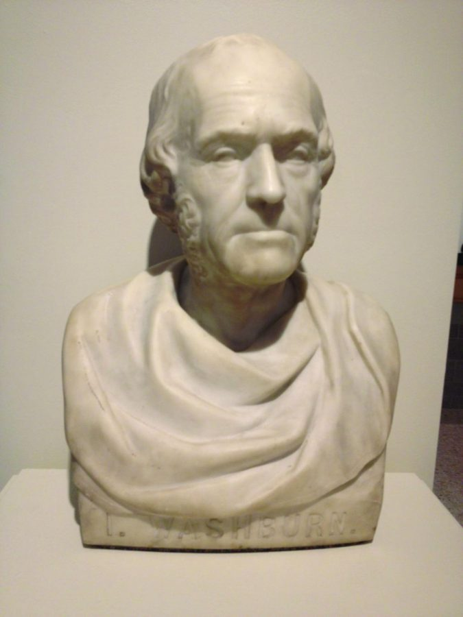 The Man Himself: A bust of Ichabod Washburn is on display, carved by Benjamin H. Kinney, a gravestone carver, in 1869.