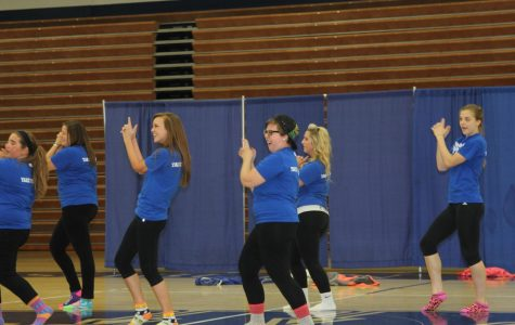 Washburn's Leadership Institute gave a rousing dance number for the crowd at Yell Like Hell.