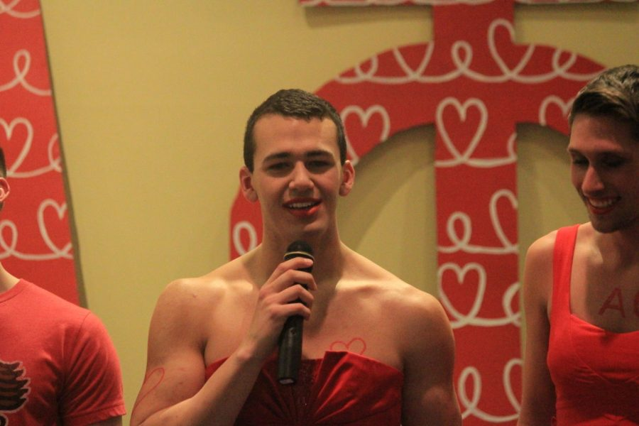 Moments before being named the 2015 King of Hearts, senior Louie Cortez answered a question posed by judges to a crowd of more than 100 people. He said his greatest fear is never finding love, signaling a tear falling from his eye with his hand.
