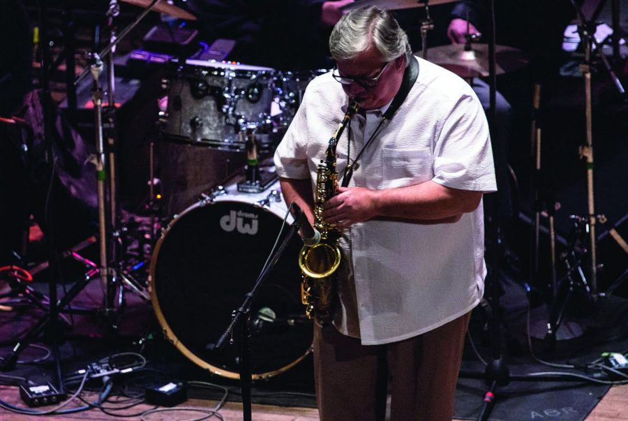 Washburn+jazz+instructor+Craig+Treinen+blasts+out+a+sax+solo+at+the+2015+Kansas+Music+Hall+of+Fame+induction+ceremony+last+weekend.+Treinen+was+one+of+12+musicians+honored+at+last+Saturday%27s+event.