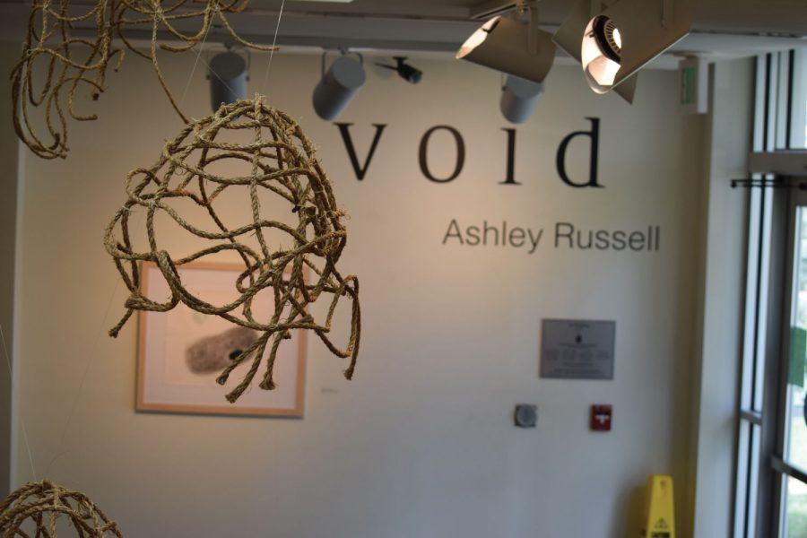 MIXED MEDIA: Ashley Russell's exhibition includes several media forms. This piece, Woven Eggs, includes rope rubber bands and adhesive.