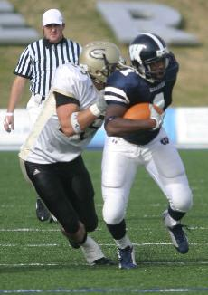 Chris Brown breaks away from Emporia State during the Homecoming game. Washburn won 37-6.