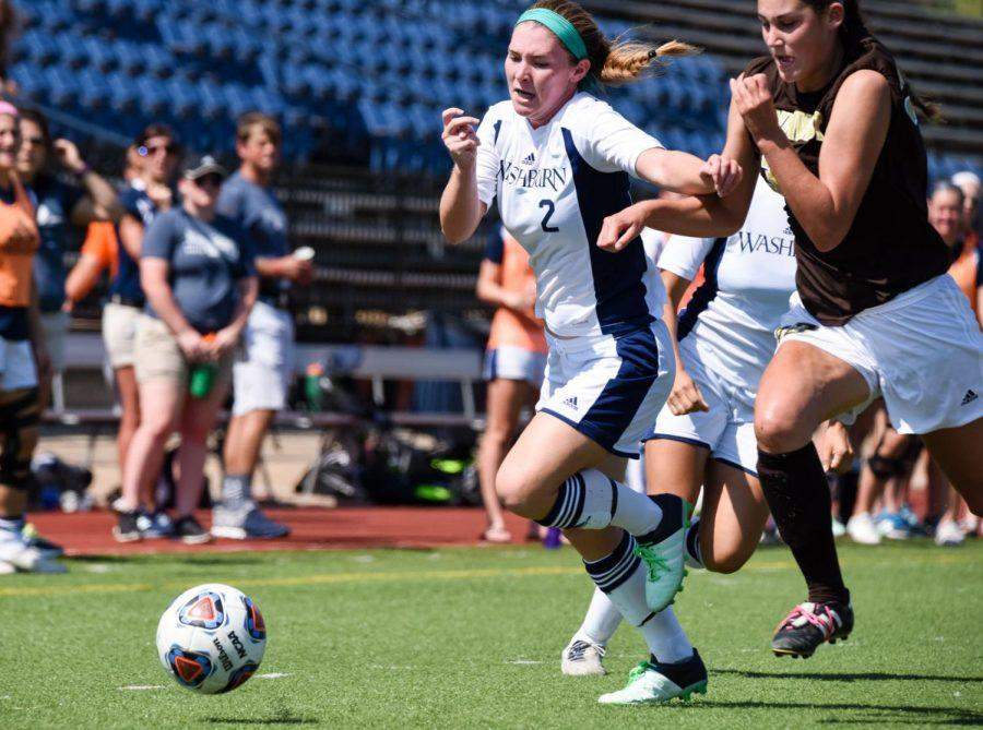 Washburn's midfielder Kelsi Smith chases after the ball against Southwest Minnesota State.
