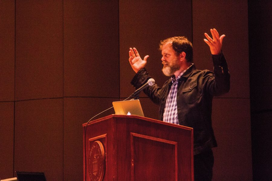 Rainn Wilson presented self-affirming challenges to Washburn students encouraging them to discover their own personal identities during his lecture.