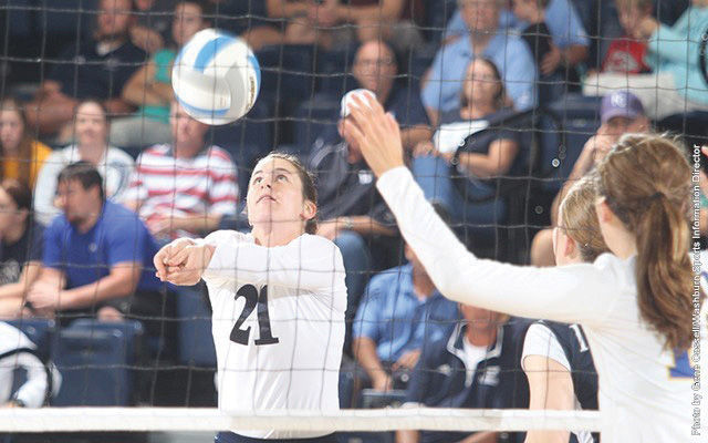 Alyssa Carney digs the ball up for the setter at the Nebraska-Kearney game on Friday.