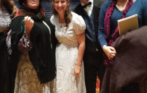 (From left to right.) Brianne Stewart, Clare Bryan, Caleb Marcus, and Josey Trimble pose after their first production of
