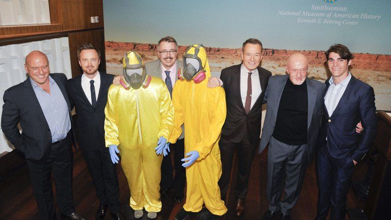 Dean Norris, Aaron Paul, Vince Gilligan, Bryan Cranston, Jonathan Banks, and RJ Mitte take a look at the new 'Breaking Bad' exhibit at the Smithsonian National Museum. Ten items from the show were on display.