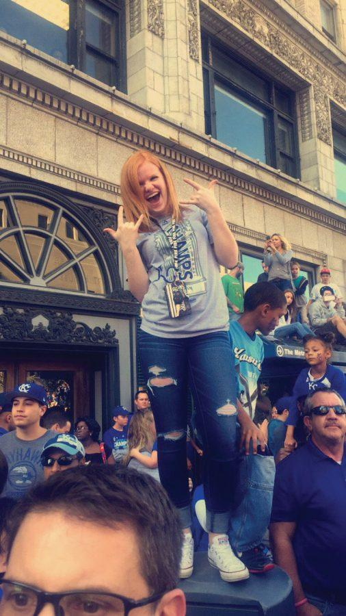 Sophomore Brianna Finnegan attends the parade held Nov 3 to honor the Royals' win at the World Series.